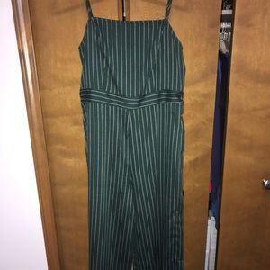 Green and white striped jumpsuit!